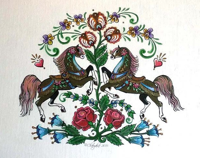 Folk Art Ponies Tulips & Roses HAND INKED Multi Media Giclee Art Print - Heart of the Wild Senior Horse Sanctuary