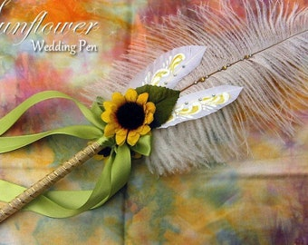 Lovely SUNFLOWER Artisan Crafted Wedding Feather Pen
