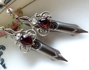 SILVER SCROLLS Elegant Scribe Gilded Dip Pen Nib Earrings - Garnets & Swarovski