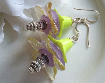 Lovely FAERIE FLOWER Hellebore Petticoats Earrings by ChaeyAhne
