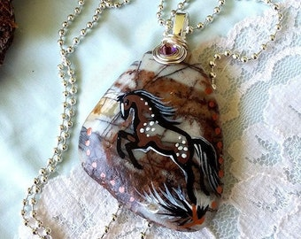 Picasso Jasper Bay Roan SPIRIT HORSE Pendant & Necklace - Folk Art Ponies