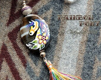 PAINTED PONY Banded Agate Tassel Pendant Necklace - Rainbow