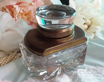 Heavy ANTIQUE Art Deco Brass and Glass Inkwell - Star Pattern