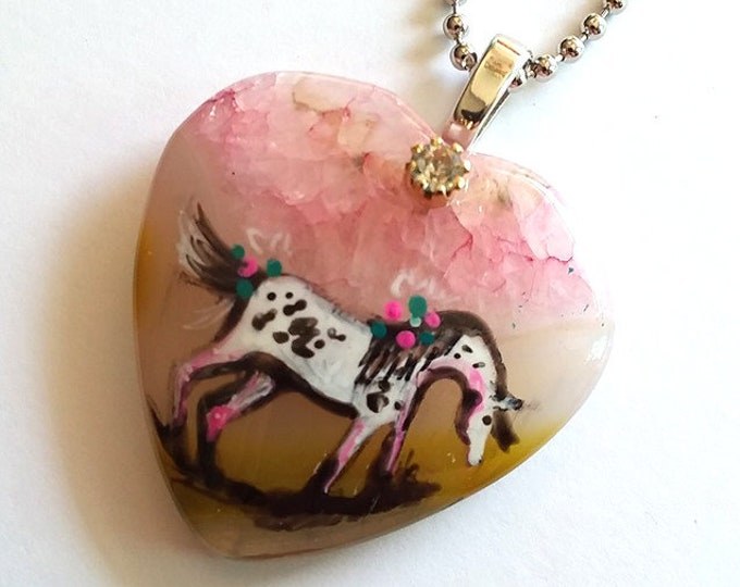 Pink and Yellow Druzy Heart SPIRIT HORSE Pendant & Necklace - Folk Art Ponies