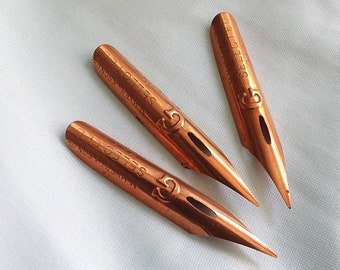 GM Meyers & Son Ltd COPPERED Steel Pen #3447 Writing Point NIB - Dip Feather Quill Pens
