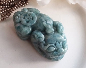Natural Oily Deep Green Jade Handmade PIXIU Coin Pendant Bead 42x23x14mm - Grade A - Guardian Spirit