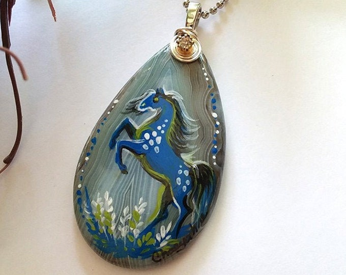 Banded Agate Blue DAPPLE SPIRIT HORSE Pendant & Necklace - Folk Art Ponies