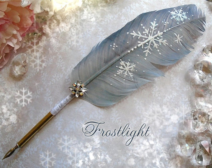 FROSTLIGHT Winter Snowflake Feather Quill Pen