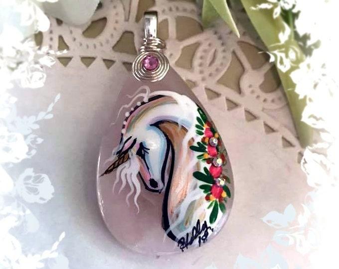 Rose Quartz UNICORN Pendant Necklace - Folk Art Ponies