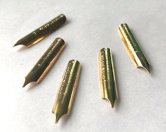 Geo. W. Hughes Adjusto #1037 F Gilt Writing Point NIB - Dip & Feather Quill Pens