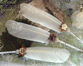 WOODLAND BEAUTY Birch Artisan Crafted Wedding Pen COUTURE Faerie Feather Pen