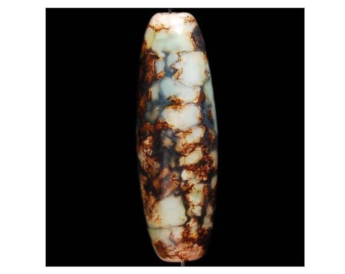 Beautiful Fire Agate Column Pendant Bead  39x13 mm - Turquoise & Gold