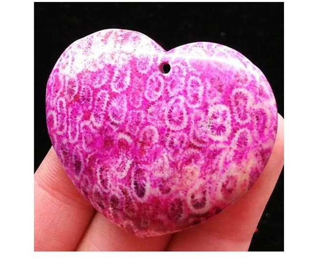 Beautiful Pink & Rose Chrysanthemum Stone Fossil Coral HEART Pendant Bead 38x42x7mm