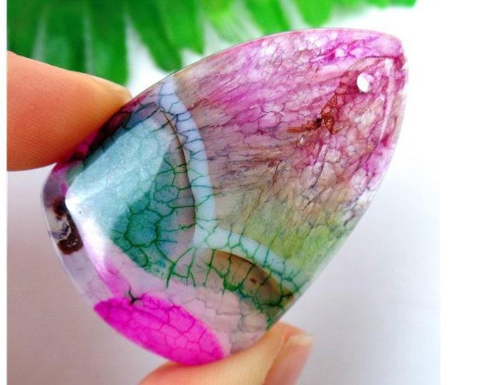Green Rose Pink Dragon Veins Druzy Geode Agate TRIANGLE Pendant Bead 49x32x7mm