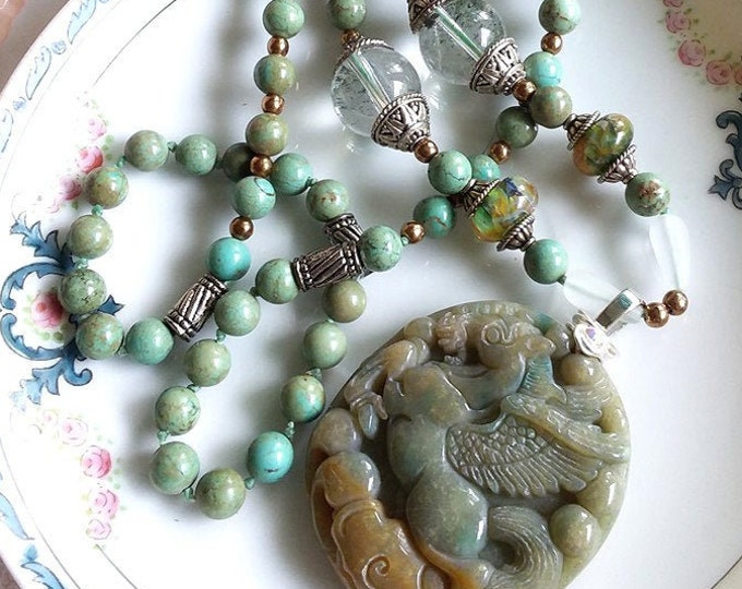 Gorgeous Hand Knotted Carved PEGASUS Horse Prayer Beads Tunic Necklace