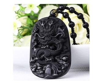Black Obsidian Ebony Black Dragon Pendant Necklace 60x40mm