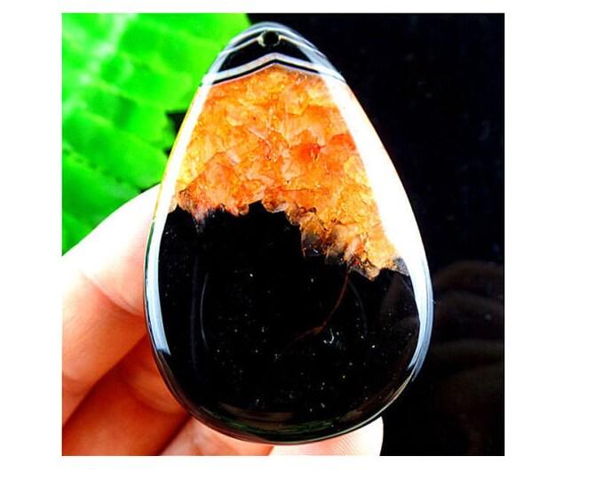 Orange & Black Druzy Geode Agate Pendant Bead 53x33x6mm