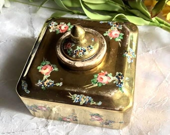 VINTAGE Hand Painted GILT Italian Ink Well - Possible 14K