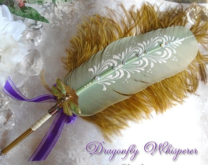 DRAGONFLY WHISPERER Totem Feather Quill Pen