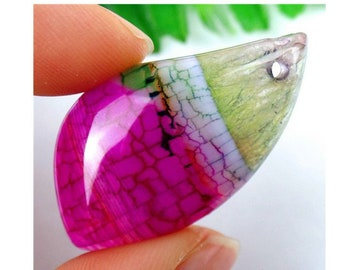 Green Rose Pink Dragon Veins Druzy Geode Agate FREEFORM Pendant Bead 39x22x7mm