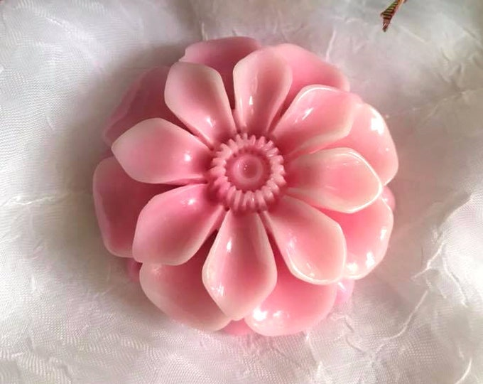 Rosey Pink Tridacna Hand Carved Open Flower Pendant Bead 49x14mm
