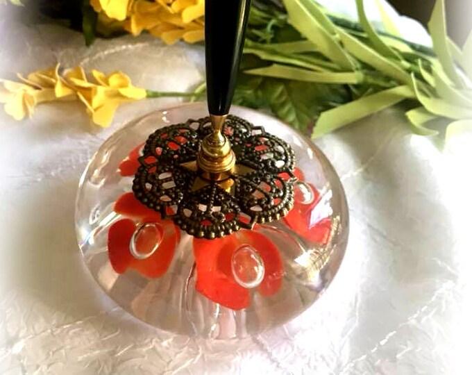 Orange & White Trumpet Flower VINTAGE St Clair Art Glass Pen Holder