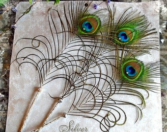 WALK IN BEAUTY Peacock Feather Artisan Crafted Quill Pen - Silver Lace