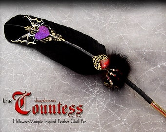 The COUNTESS Winged VAMPIRE Heart Halloween Feather Quill Pen