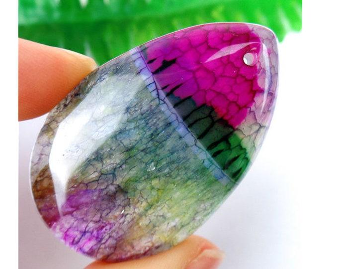 Crystal Green Druzy Geode Agate TEARDROP Pendant Bead 50x32x7mm