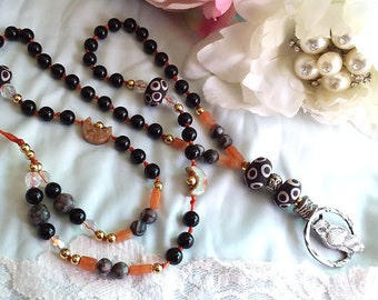SACRED OWL  Carnelian & Black Onyx Totem Prayer Bead Necklace