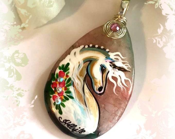 Geode Agate UNICORN Pendant & Necklace - Folk Art Ponies