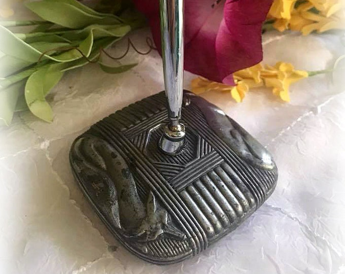 RARE Antique SILVER FOX Vintage Art Deco Metal & Wood Pen Holder