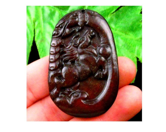 LOVELY Carved Chinese Old Jade Handmade Horse Pendant Bead 51x33x7mm