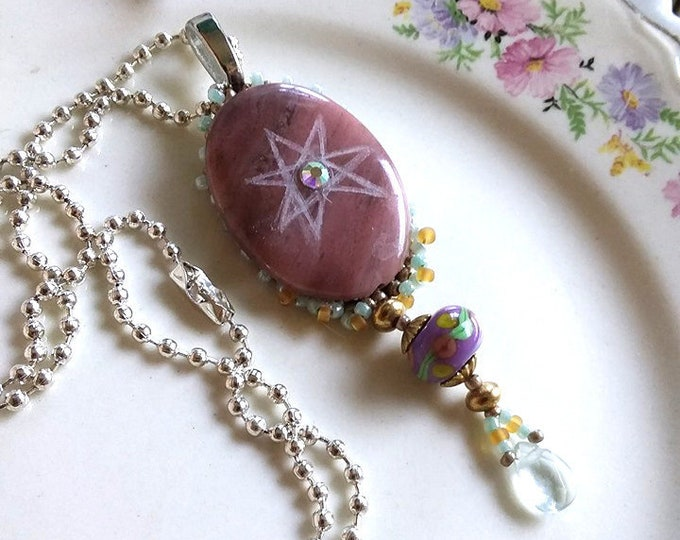 Etched FAERIE STAR Hand Beaded RHODONITE Septagram Pendant Necklace
