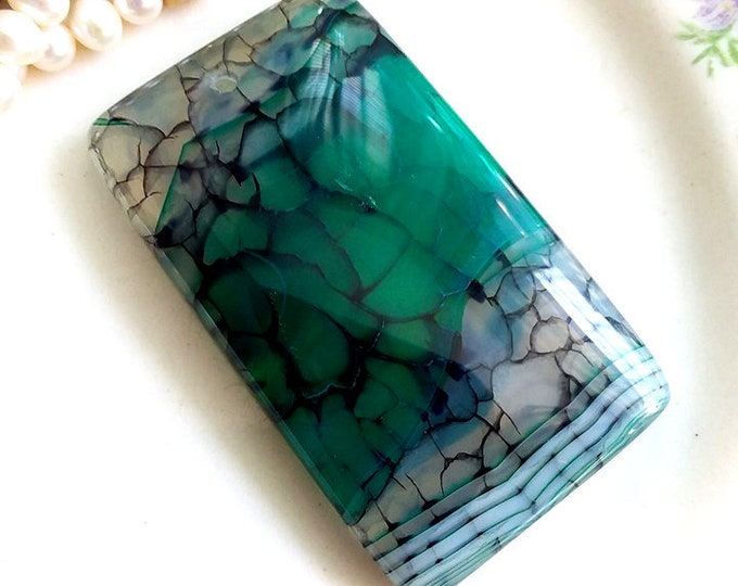 Gorgeous Dragonfly Wing Banded Agate Oblong Pendant Bead 46x27x6mm
