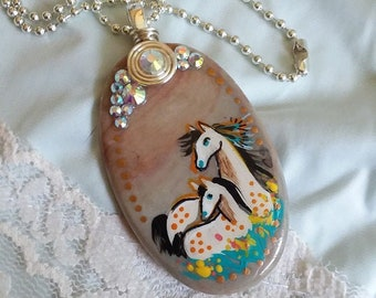 Mare and Foal Agate SPIRIT HORSE Pendant & Necklace - Folk Art Ponies