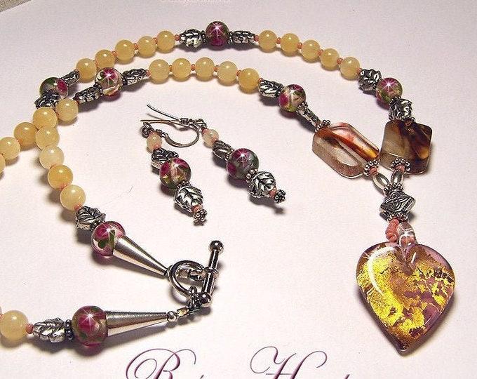 VENETIAN HEART OOAK Italian Lampwork and Calcite Necklace & Earring Set
