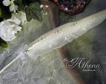 The ATHENA BALLPOINT Artisan Crafted Wedding Pen - Crystals & Silver