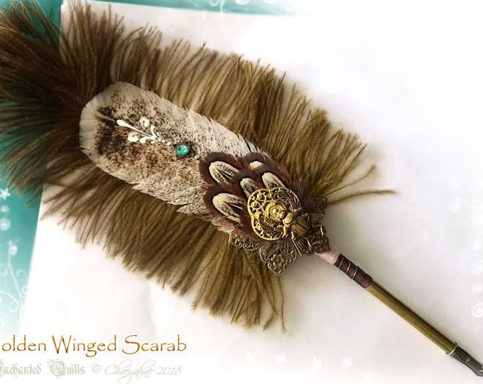 GOLDEN WINGED SCARAB Egyptian Feather Quill Dip Pen