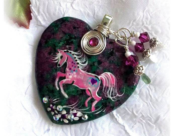 Ruby Fuchsite SPIRIT HORSE Heart Pendant Necklace - Folk Art Ponies