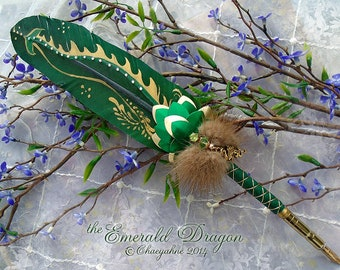 The EMERALD DRAGON Beastly Feather Quill Pen - Game of Thrones