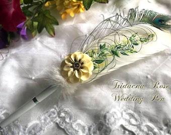 Tridacna Rose Flower Wedding Pen - Rollerball - IN STOCK