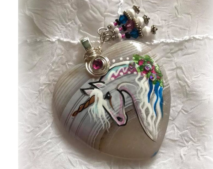 White Banded Agate UNICORN SPIRIT HORSE Heart Pendant Necklace - Folk Art Ponies
