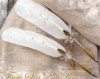 The FAERIE STAR White Artisan Crafted Feather Quill DIP Pen - Heptagram