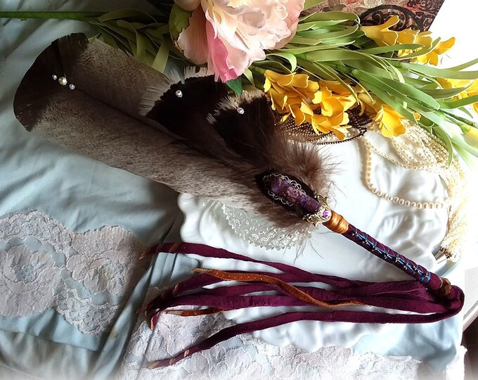VIOLET DUSK Prayer Feather Smudge Fan Wand