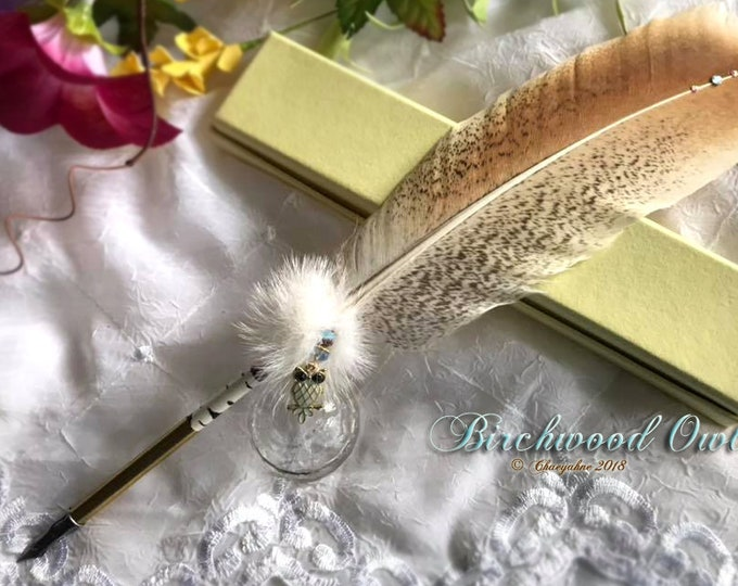 BIRCHWOOD Owl Totem Feather Quill Pen Writing