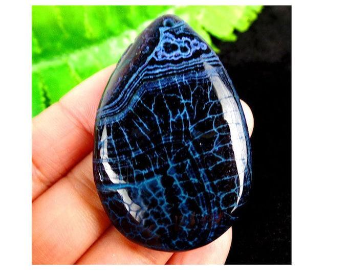 Black & Blue Dragon Veins Teardrop Agate Pendant Bead 52x34x7mm GOT DROGON