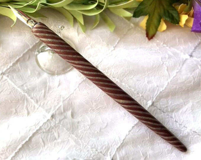 Spiral Polymer Clay Enamel Wood Calligraphy Dip Pen