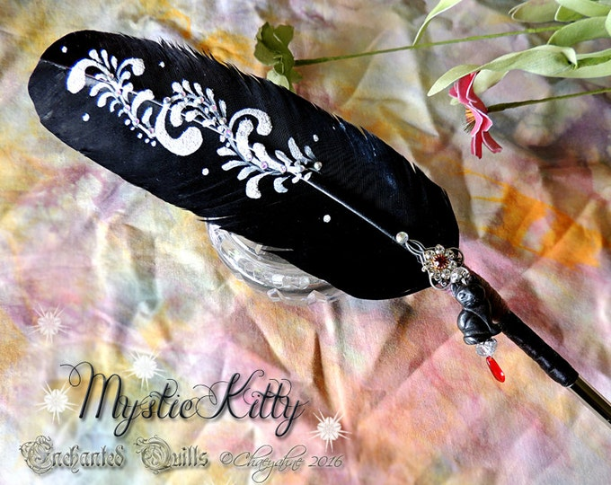 The BLACK CAT Familiar Embellished Familiar Feather Quill Dip Pen - SALE