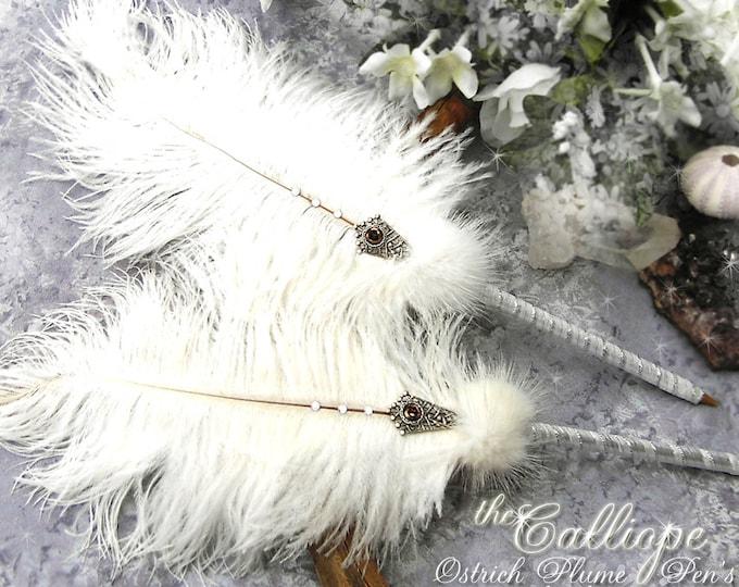 CALLIOPE Ostrich Plume Ballpoint Wedding Pen - Artisan Crafted